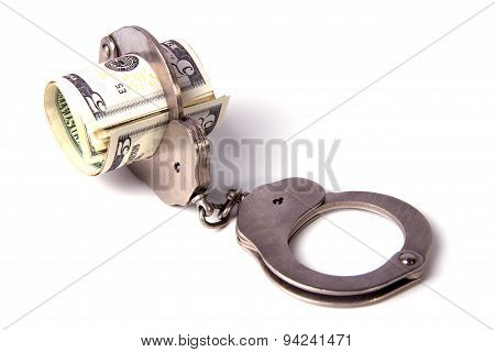 Steel Handcuffs And A Roll Of Dollars