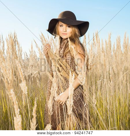 Beautiful Young Model In Tallgrass