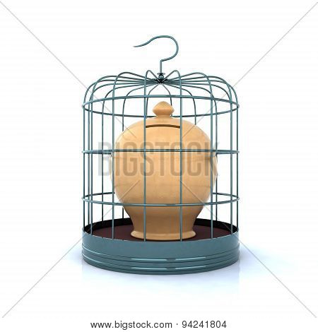 Terracotta Money Bank Closed In A Cage