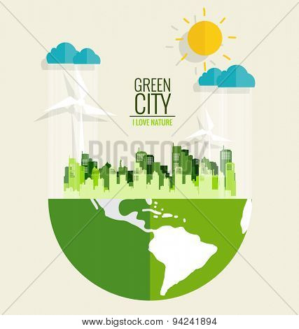 Green city. Environmentally friendly world. Ecology concept. Vector illustration.
