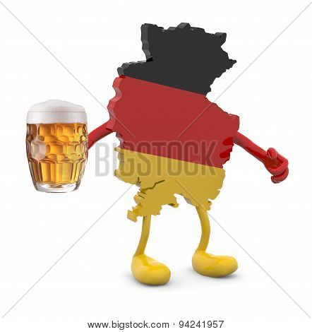 Germany Map With Arms, Legs And Glass Mug Of Beer On Hand