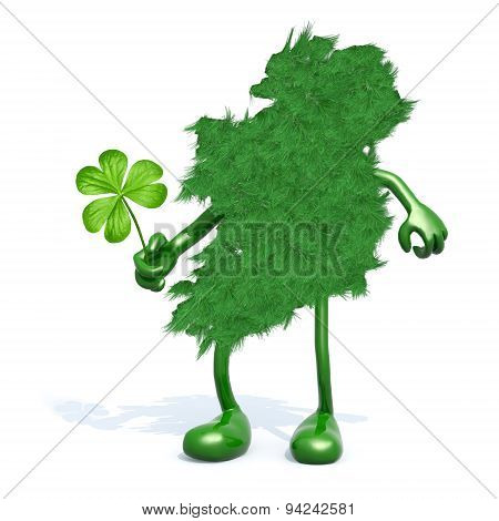 Green Ireland And Shamrock Three Leaf