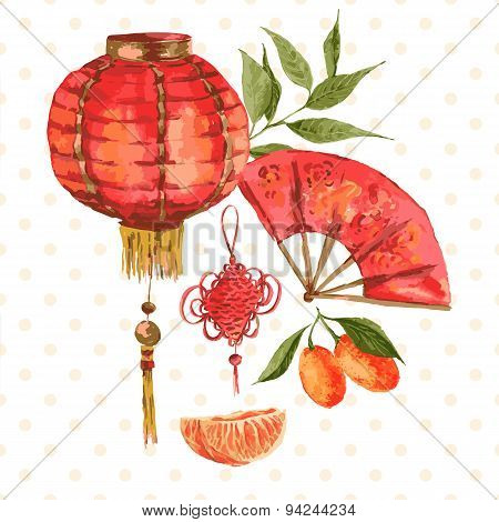 Background Oriental Chinese New Year Element, Lights, Fan, Mandarin