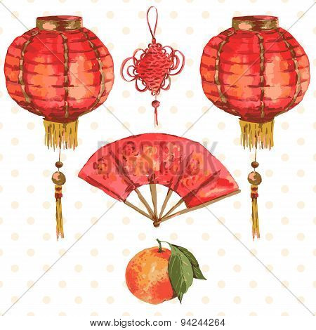 Background Oriental Chinese New Year Element, Lights, Fan, Mandarin