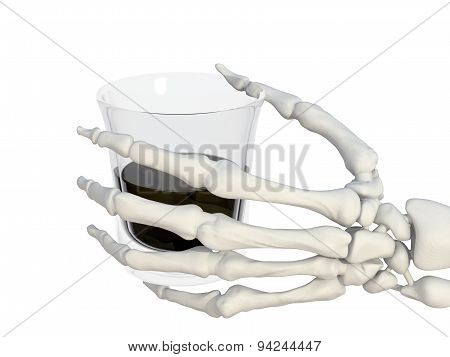 Skeleton Hand With A Glass