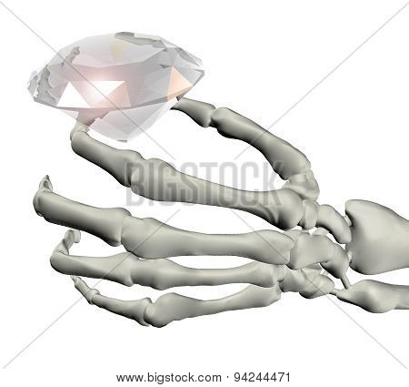 Skeletal Hand With Big Diamond