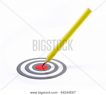 Pencil Pointed To Center Of Target
