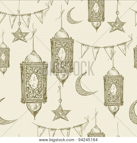 Traditional seamless background with arabic  lantern