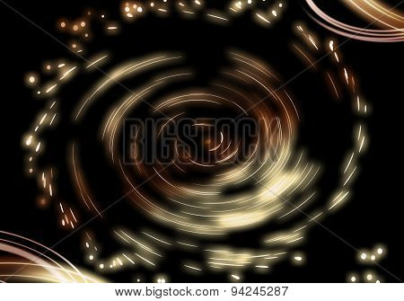 Gold And Brown Twirl Abstract Background.