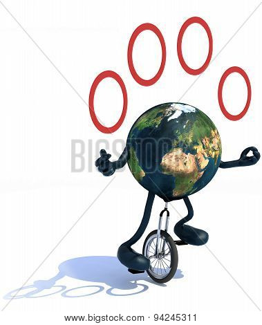 Earth Juggle With Arms And Legs Rides A Unicycle