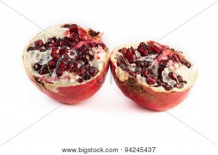 Pomegranate Broken Isolated On White Background