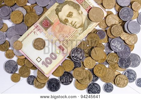 Ukrainian money banknotes and coins