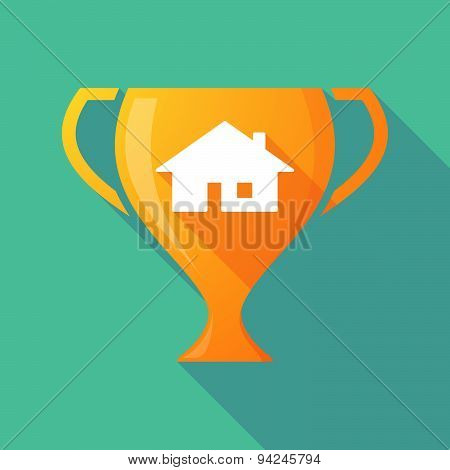 Long Shadow Trophy Icon With A House