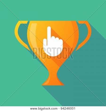 Long Shadow Trophy Icon With A Pointing Hand