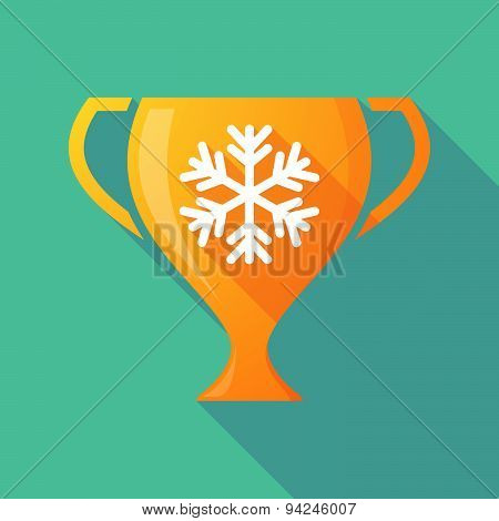 Long Shadow Trophy Icon With A Snow Flake