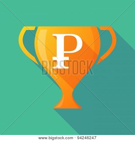 Long Shadow Trophy Icon With A Ruble Sign