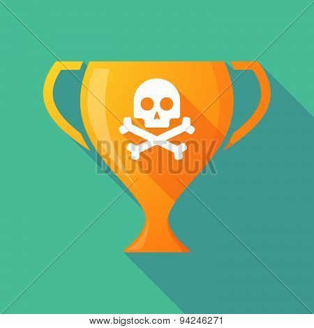 Long Shadow Trophy Icon With A Skull