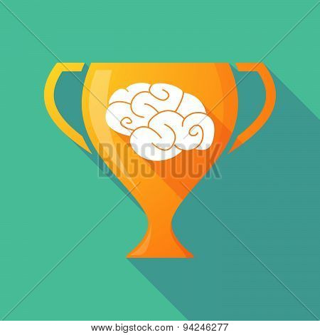 Long Shadow Trophy Icon With A Brain