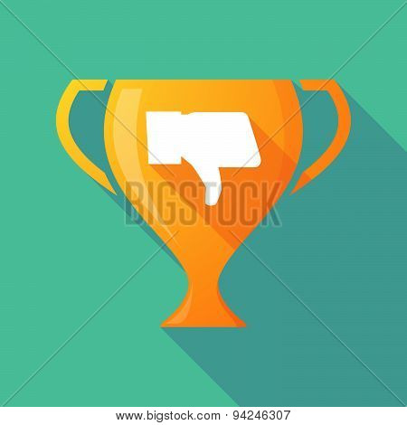 Long Shadow Trophy Icon With A Thumb Down Hand