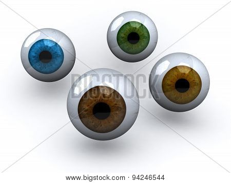 Four Eyeball With Different Colors