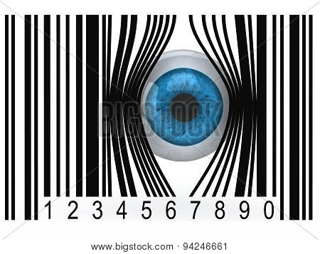 Eyeball That Gets Out From A Bar Code