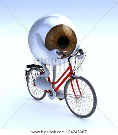 Eye With Arms And Legs Riding A Bycicle