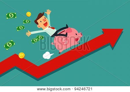 Businessman Riding Piggy Bank On Arrow Graph