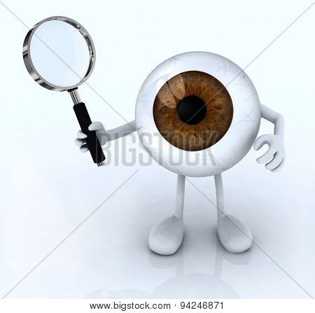 Eye With His Arms And Legs With A Magnifying Glass