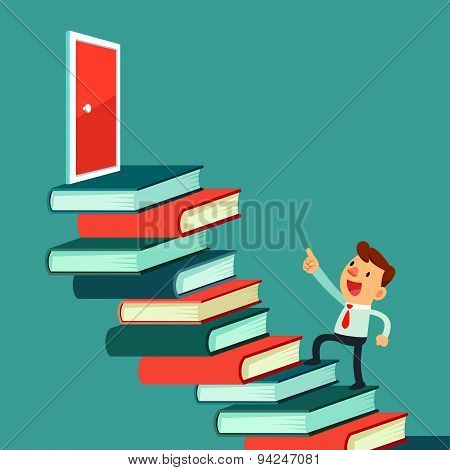 Businessman Walk On Books To The Door