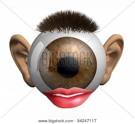 Eyeball With Ears, Lips And Hair