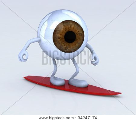 Eyeball With Arms And Legs On Surf Board