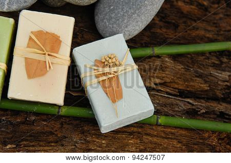 Soap with bamboo grove on driftwood