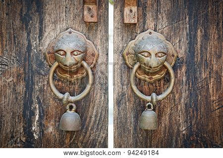 Ancient Wooden Gate Two Door Knocker Rings.