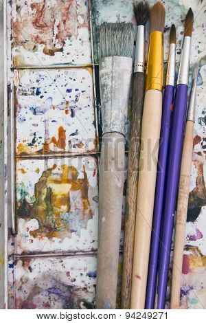 Art Paint Brushes And Palette Vertically