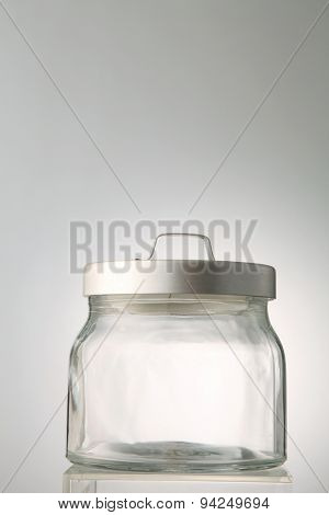 empty glass jar on the white background
