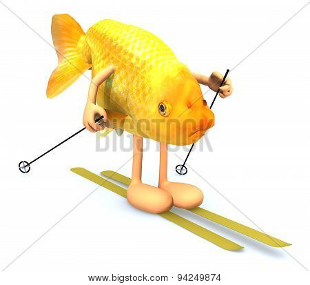 Gold Fish With Arms And Legs, Ski And Stick