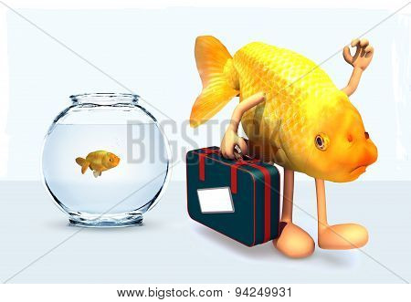Red Fish With Arms And Legs That Take A Suitcase And Leave Fishbowl