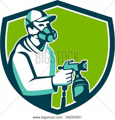 Spray Paint Gun Painter Spraying Shield Retro