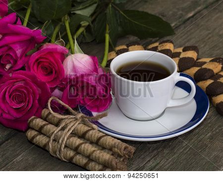 Coffee, Flowers Pink And Cookies Of Two Types