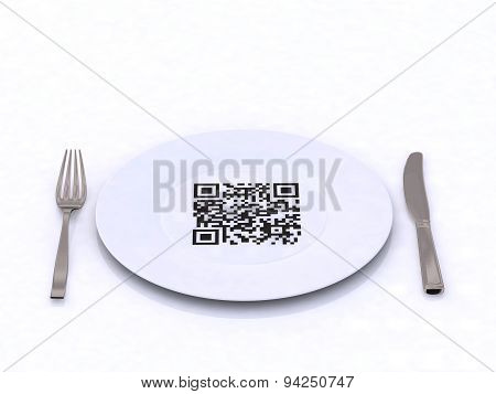 Plate With Fork, Knife And Qr Code