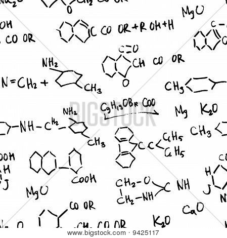 Chemistry abstract formulas. Seamless vector background pattern.