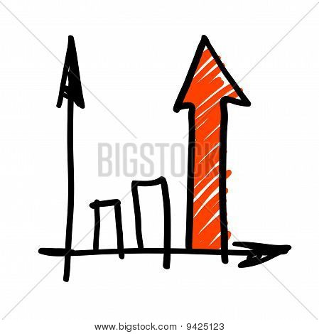 Business graph of success. Hand drawing, vector.