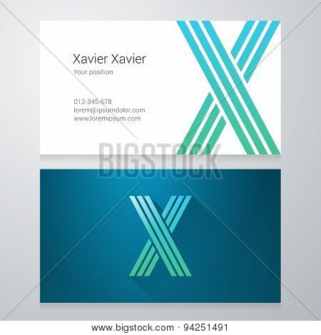 Letter X Business Card Template