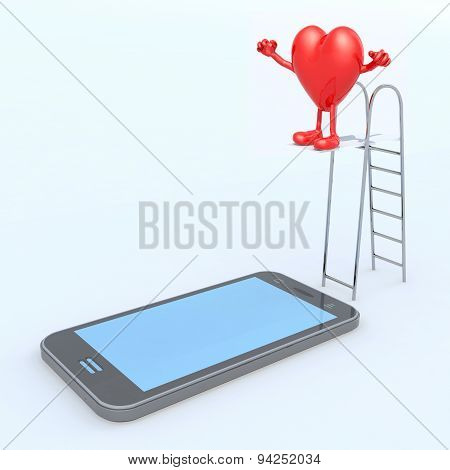 Heart On Ladder Pool That Plunges On The Mobile Phone Screen