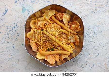 Indian snack savouries called mixture made from gram flour fried in groundnut oil