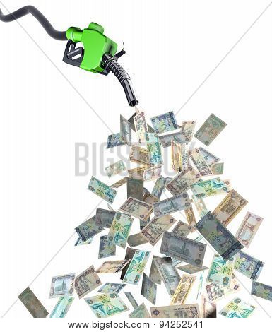Fuel Nozzle With Dirham Banknotes