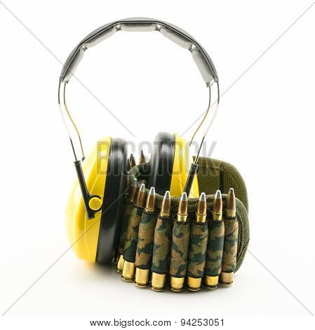 Yellow Ear Protection And Camouflage Ammunition Belt