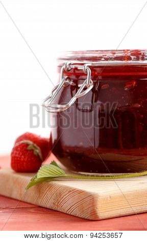 Traditional strawberry homemade jam.
