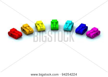 Toy Tanks Colorful As Rainbow