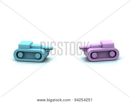 Two Plastic Toy Tank